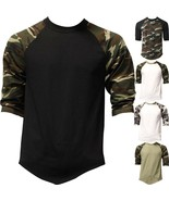 Mens Raglan T Shirts Baseball 3/4 Sleeve CAMO Plain Tee Jersey Team Sports - $10.40+