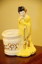 VINTAGE ASIAN GEISHA FIGURINE VOTIVE CANDLE HOLDER PLANTER TOOTHPICK GOL... - $21.99