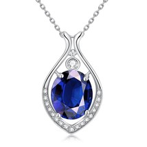 Sterling Silver Created Blue Sapphire and White Topaz X and Teardrop Nec... - $12.73