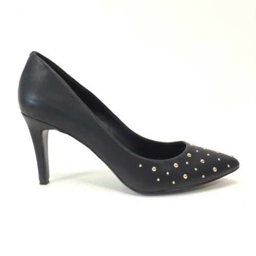 J Crew Factory Womens 9 Shoes Isabella Black Studded Pumps Slim Heel