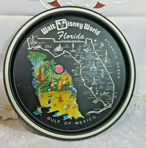"Vintage 1970's Walt Disney World Florida Round Tin Metal Tray Souvenir 11"" image 1"