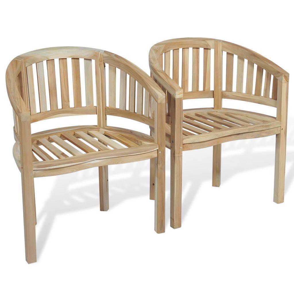 vidaXL 2x Teak Chair Banana Halfmoon Shape Seat Wooden Garden Furniture Patio