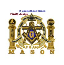 Masonic F&AM Jacketback size digitized filled embroidery design Digital ... - $15.00