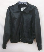 Distressed Leather Motorcycle Jacket Black Biker Zip Front Lined Men Medium - $69.29