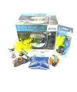 Elive Betta Bowl Complete Set Up Kit Black Log Plant Bites Filter Gravel... - $49.99