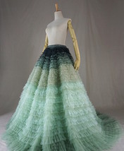 Women Tiered Maxi Tulle Skirt Wedding Bridal Train Skirt Outfit Evening Skirts image 7