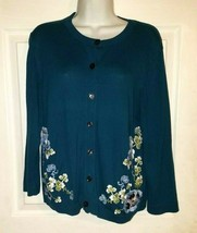 ANN TAYLOR LOFT Teal Floral Embroidered Cardigan Sweater Size Large - $19.80