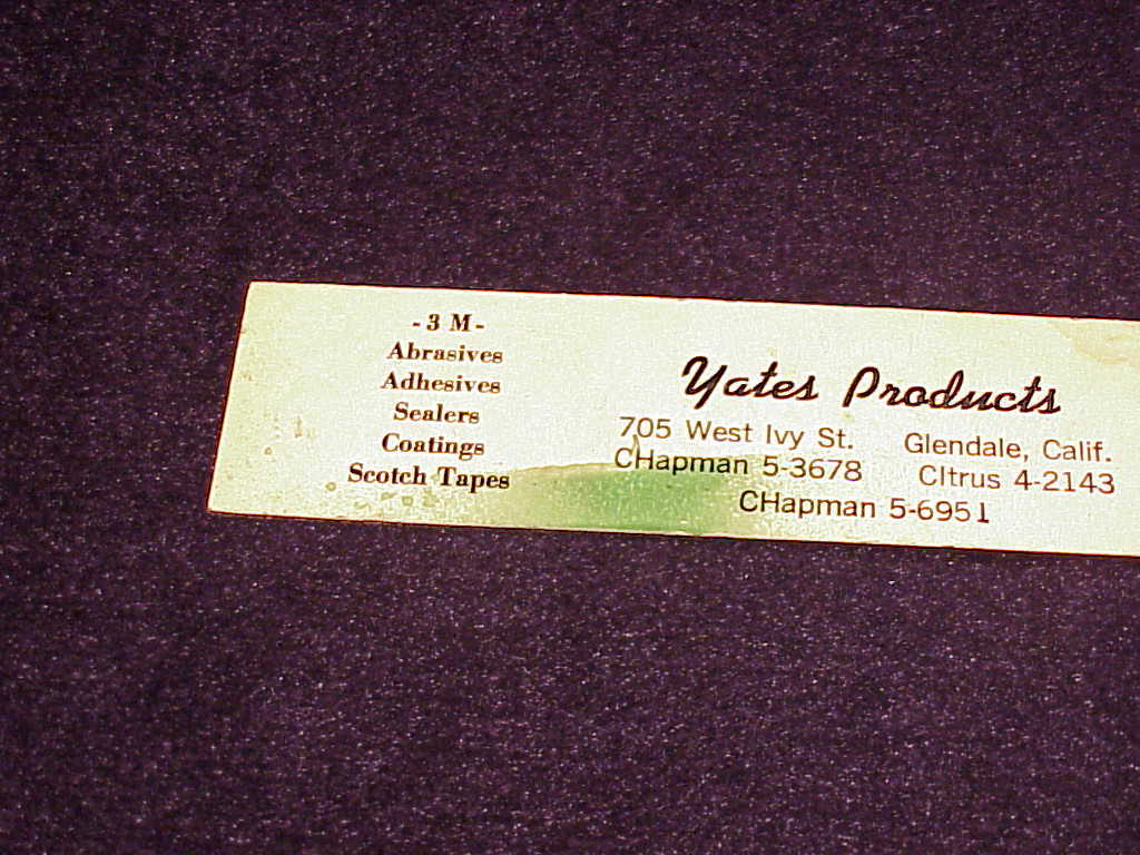 Vari-Vue 6 Inch Advertising Ruler, for Yates Products, of Glendale, California