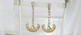 "Unique Vintage 2.25"" Long Rhinestone Danglers Clip Earrings Gold Plate A... - $22.49"