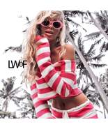Colorful Striped Knit Crop Top and Shorts Two Piece Off Shoulder - $29.99