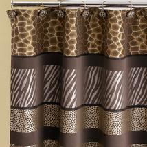 Popular Bath Safari Stripe 70 x 72 Bathroom Fabric Shower Curtain & Hook... - $35.99