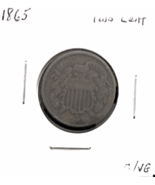 1865 P Two Cent Coin, Graded Good to Very Good, Minted in the Year the C... - $61.00
