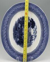 "Cauldon English Blue Transfer Ware Byzantium 15"" Platter c.1900 image 3"