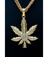 14k Yellow Gold Finish 2.50Ct Round Cut  Diamond Weed Leaf Without Chain... - $149.99
