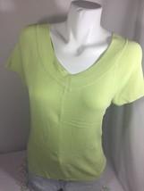 Talbots Women Light Neon Green Soild Blouse V-neck Short Sleeve Bin55#17 - $13.10