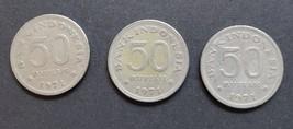 Three 1971 Indonesia 50 Rupiah Coins 1971 - $2.95