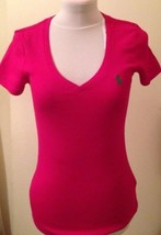 Ralph Lauren Womens Ladies Dark Pink V Neck T Shirt Size Medium 8 to 10 - $36.36