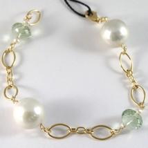 Pulsera Oro Amarillo 750 18K, Grandes Perlas Blancas 15 mm, Prasiolita V... - $454.15