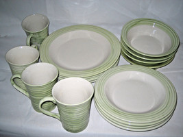 Gibson Dinnerware Service For (4) Green Swirls 16-pc Set - $26.39
