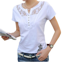 Summer T-shirt Women Casual Lady Top Tees Cotton White Tshirt Female Bra... - $19.80