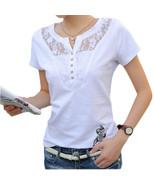 Summer T-shirt Women Casual Lady Top Tees Cotton White Tshirt Female Bra... - $19.80