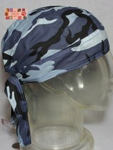 BLUE URBAN CAMO Camouflage FITTED TIED BANDANA Head Wrap Skull Cap DOO D... - $16.52