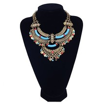 Paxuan Womens Antique Silver/Gold Alloy Vintage Boho Bohemia Turquoise N... - $11.19