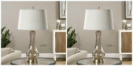 "PAIR URBAN DESIGNER 30"" SMOKE GRAY GLASS TABLE LAMP AGED BRUSHED BRASS M... - $426.80"