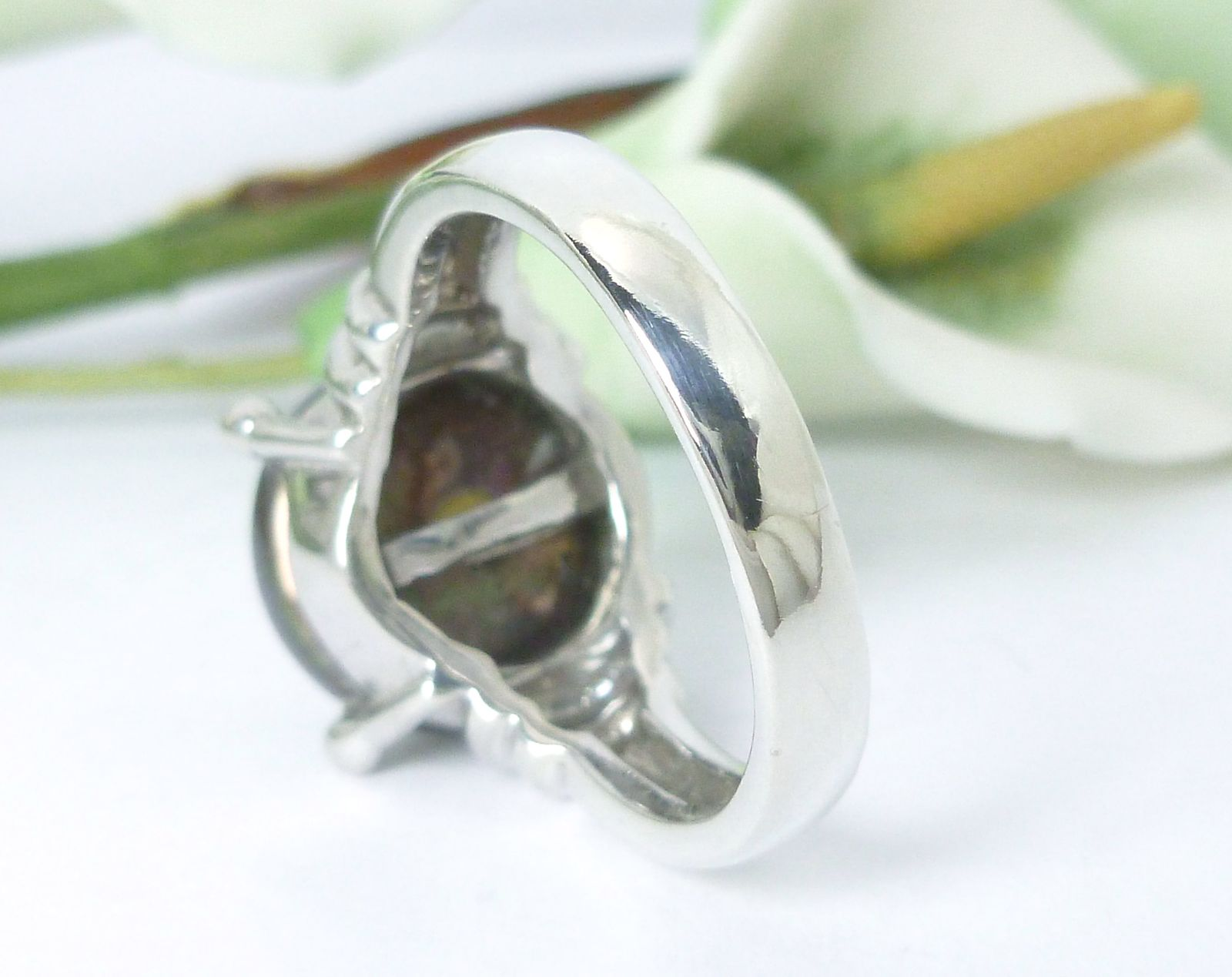 Honora Cultured Freshwater Black Pearl Coin Sterling Ring Size 6