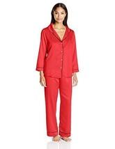 Oscar de la Renta Pink Label Womens Matte Satin Pajama in Red size L Large - $45.20