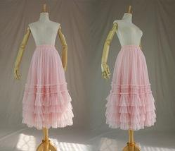 Pink Tiered Tulle Midi Skirt Pink Princess Tulle Tutu Midi Skirt Outfit Wedding  image 2