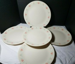 """5 Corning Corelle Forever Yours Dinner Plates 10 1/4"""" Pink Hearts Flowers - $27.67"""