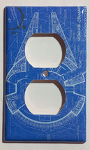 Star Wars Millennium Falcon Blueprint Switch Outlet wall Cover Plate Home Decor image 3