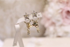 AUTH Christian Dior 2019 CLOVER CRYSTAL STAR HOOP DANGLE GOLD Earrings  image 13