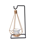 Hanging Gold Metal Geometric Shape Tealight Candle Holder, with Black Ir... - $36.95