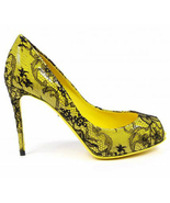 Dolce & Gabbana Women's High Heels Shoes, Bette de collete, black yellow... - $429.99