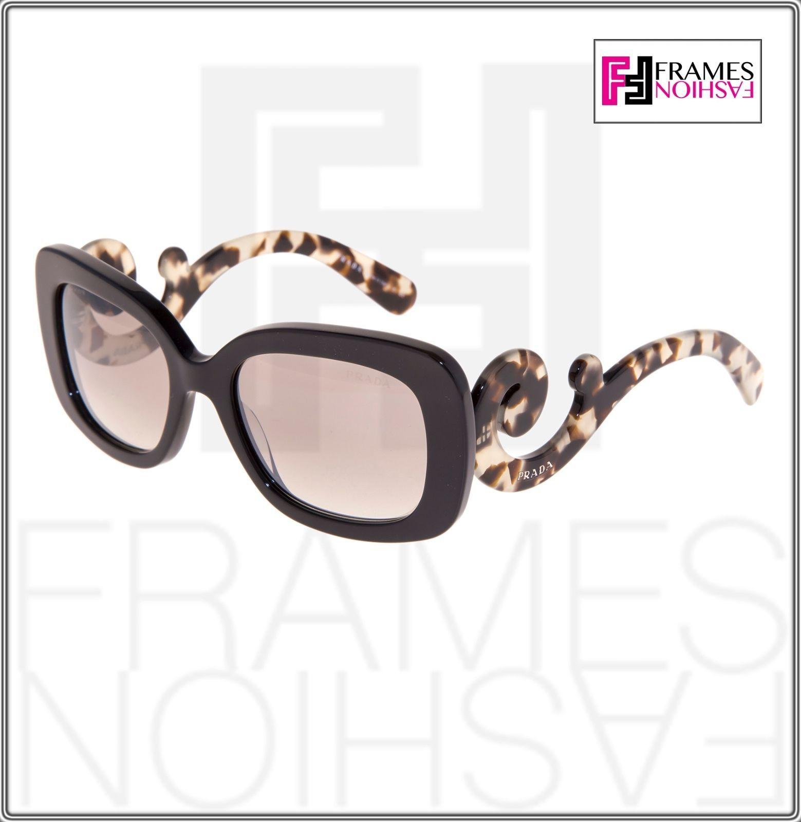 PRADA Minimal Baroque Swirl Brown Square Silver Mirrored Sunglasses PR27OS 27O