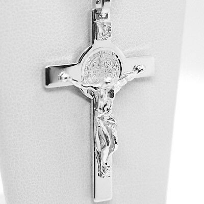 18K WHITE GOLD CROSS, JESUS & SAINT BENEDICT MEDAL, BIG 2.1 INCHES, ITALY MADE