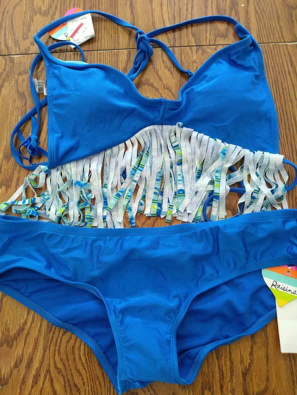 Raisins Blue Fringe Two Piece Bikini Set Size Large