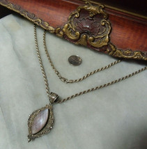 Vintage Sterling Silver Heavy Mother of Pearl Ornate Necklace by Suarti  - $59.37