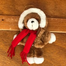 Vintage Avon Small Brown Teddy Bear w Zip Hoodie & Red Scarf Plush Stuff... - $8.59