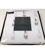 Cynthia Rowley Lavender and Gray Gnomes on White Microfiber Sheet Set Twin - $31.00