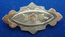 English Silver Pin with Engraved Flowers and Leaves (#1671) - $81.23