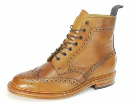Handmade Men's Tan Formal Brogue Ankle Cognac Wingtip Boots - $179.99