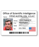 STEVE AUSTIN SIX MILLION DOLLAR MAN NAME BADGE HALLOWEEN COSPLAY MAGNET ... - €13,17 EUR