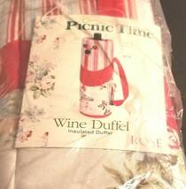 "Wine Bottle Bag Duffel Carrier Red Roses Corkscrew Strap Insulated 12"" Tall - $332,54 MXN"
