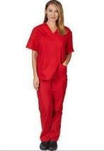 Red Scrub Set S V Neck Top Drawstring Pants Unisex Medical Natural Unifo... - $34.89