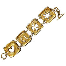 Vintage Christian Lacroix gold tone extra large statement bracelet with clover,  - $282.00