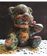 Vintage Joan Baker Designs Porcelain Patchworks Floral Victorian Teddy Bear - $15.00