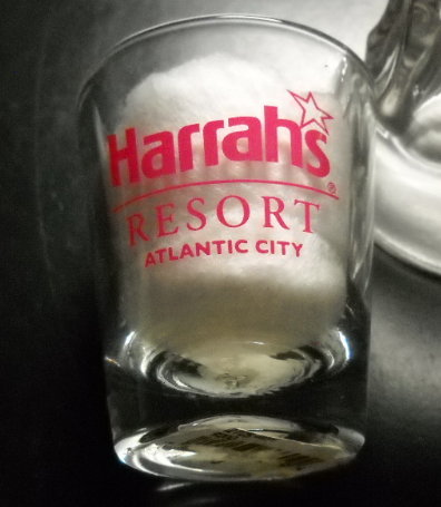 Harrahs Resort Atlantic City Shot Glass Clear Glass with Bright Red Print